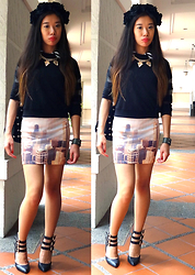 Monica Seet - Zara Mesh Paneled Pullover, New Look Bib Necklace, Pull & Bear Skycrapers (Buildings Skirt), Forever 21 Straped Pumps, H&M Black Flower Crown - Like a Skyscraper
