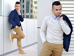 Paul Ramos - United Colors Of Benetton Corduroy Blazer, United Colors Of Benetton Sweater, United Colors Of Benetton Dress Shirt, United Colors Of Benetton Khaki Trousers, United Colors Of Benetton Ankle Cut Sneaks - United Bloggers of Benetton