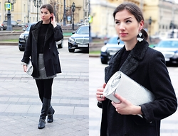 Natasha Karpova - Topshop Boots, Monki Earrings, Monki Skirt, Seppälä Sweater, C&A Coat - MBFW Russia: 1st DAY