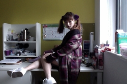 Anna S. - Unif Nevermind Duster, Nike Air Jordans, American Apparel Lulu Grid Skirt - Stay warm