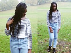 Adeola A. - Choies Striped T Shirt, Topshop Mom Jeans, Converse Converses - Striped Tee