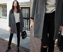 Bea G - Coat, Sweater, Jeans, Bag, Boots - Grey Mood