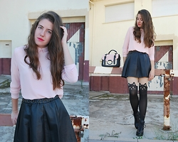 Mariana Moratalla - Bershka Rose Shirt, Cheapjewelryaccesories Cat Tights, Pull & Bear Leather Skirt - =MEOW=