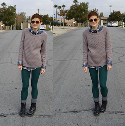Bethany R. - American Apparel Leggings, Dr. Martens 1406 - Moss