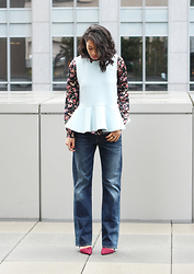 Kim Seidensticker - Aritzia Floral Shirt, Cameo The Label Peplum Top, Banana Republic D'orsay Pumps - Cameo the Label