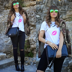 Laura Reynoso - Chanel Handbag, Forever 21 Jeans, Zerouv Sunglasses, Bcbg Jacket, Snaptats Tats, Nstyles Collection T Shirt - Camouflage