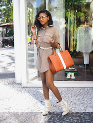 Ria Michelle - Tom Ford Nastasya Cat Eye Sunglasses, Filthy Magic The Perfect Shirt Dress, Angel Reinares Cabernet Tote, Isabel Marant Scarlet Leather Suede And Calf Hair Wedge Boots - Throw It In The Bag
