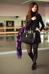 Lily France - Coco Boo Swing Dress, Primark Stripy Tights, New Look Black Bag, Dorothy Perkins Pointy Flats, Miss Selfridge Purple Check Scarf - Ballet studio