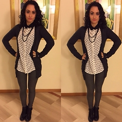 Valeria - Zara Cardigan, Sheinside Blouse - Black and White