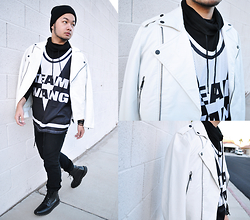Shawn C. - H&M Team Wang Jersey, Forever 21 21men White Moto Jacket, Nordstrom Calibrate Boots, H&M Turtle Neck - Team Wang (Visit my blog)