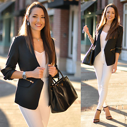 Jessica R. - Sheinside Black Blazer, White House Black Market Earrings, Dailylook Black Single Strap Heels, Bullhead Black White Denim - Black and White