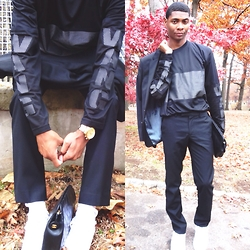 Tyric Davon'e - Alexander Wang X H&M Mesh Shirt, Topman Basic Black Trousers, Express Basic Black Blazer, Chanel Bag - WANGin' IN A SUIT