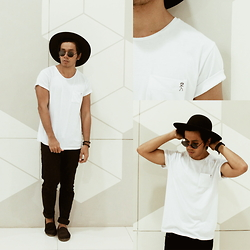 Vincent Entanto - Oxygen White Shirt, Forever 21 Wide Brimmed Hat - White Shirt Obsession