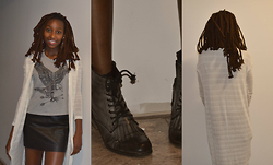 Viona Wambui - Sirens Shirt, H&M Skirt, Urban Outfitters Cardigan, Chinese Laundry Combat Boots - Cardigans and Things