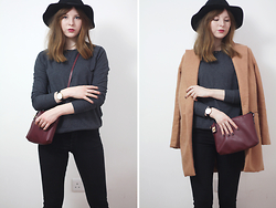 Rebekah D - Sheinside Coat, H&M Jumper, Jeans And Hat - OOTD: The Camel Coat