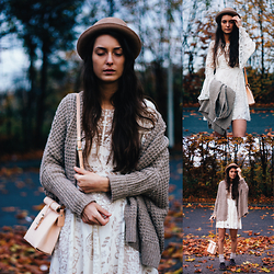 Jess - Asos Pork Pie Hat, Free People Wool Cardigan  Breeze , Free People Folklore Dress, Stanyon Leatherbag, Akira Brogue Lace Up Shoe - FALL in love