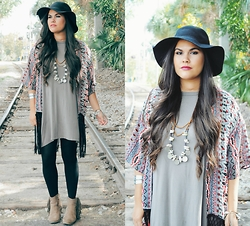 Sue Figueroa - Gypsan Tribal Kimono, Victory Jewelry Mermaids Treasure Necklace, Forever 21 Fringe Boots - Tribal