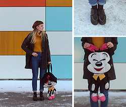 Yana Baeva - Befree Coat, Pull & Bear Jeans, Micey Mouse, Bershka Mustard - Back to the childhood