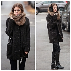 Alexandria Deanne - Banana Republic Fur Scarf, Urban Outfitters Sweater, Banana Republic Earmuffs - First Snow of the Season