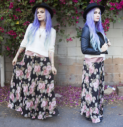 Molly McIsaac - Forever 21 White Crop Sweater, H&M Bowler Hat, Thrifted Floral Maxi Skirt, Wet Seal Faux Leather Jacket - Vorfreude