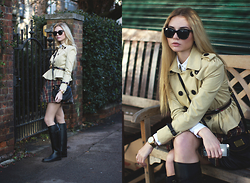 Valeriia Volkova - Sheinside Trench, Sheinside Skirt - PLAID SKIRT AND CROP TRENCH
