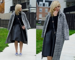 Liat Neuman - French Connection Uk Wool Coat, Zara Skirt, Topshop Sneakers - Grey and black