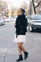 Elif Filyos - Smart Set Tulle Skirt, Smart Set Quilted Faux Leather Jacket, Zara Boots - My Everest