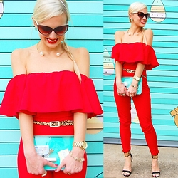 Lauren Vandiver - Chicnova Jumpsuit, Pixie Market Necklace, Kendra Scott Earings, Michael Kors Watch, Of Mercy Belt, Tory Brch Heels - RED RUFFLE JUMPSUIT