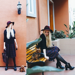 Julia Roga - Oasis Skirt, Oasis Boots, Oasis Hat, Oasis Bag - Oxblood, Plaid, and a Season with Two Names