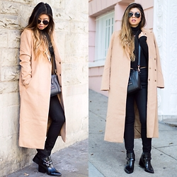 Linh Nguyen - Forever 21 Coat, Asos Pants, Céline Bag, Brandy Melville Usa Top, Forever 21 Booties - Camel Coat