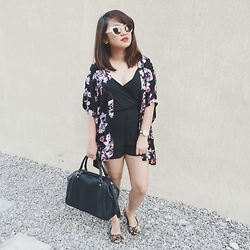 Anna Alexis - H&M Floral Kimono, Forever 21 Black Rompers, H&M Black Satchel, Payless Floral Flats, Sunnies Studios The Bianca - #02