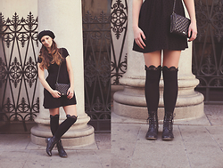 Zori Ivanova - Zara Dress, Accessorize Hat, Naf Black Boots, Mango Quilted Bag - French girl in Italy