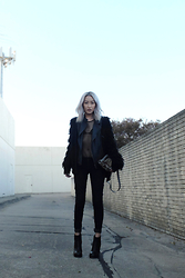 Huyen T - Leifsdottir Wooly Jacket, Gucci Mens Leather Moto Vest, Christian Louboutin Morrigan Bag, Vince Jeans, Rick Owens Textured Leather Boots - Meshing