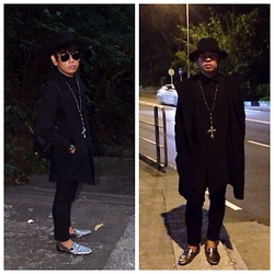 Jade Manalac - Zara Wide Brim Fedora, Ray Ban Aviator Sunglasses, S For Longline Shirt, Ulysses King Cross Necklace, Uniqlo Skinny Jeans, Asos Silver Loafers, S For Hoddie Coat - Black on Black