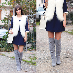 Dosta Radnjanska - Chic Wish Fur Vest, Sugarhill Boutique Dress, Milanoo Bag, Dressve Over The Knee Boots - Wear your summer dresses in winter