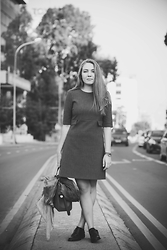 Sasha Stephen - Zara Grey Dress, Louis Vuitton Leather Bag, Bagatt Leather Shoes - On the road again