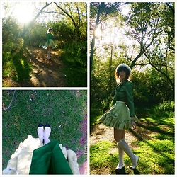 Jennifer Hankin - Lady Petrova Green Blouse, Home Made Green Bow Skirt, Alannah Hill Silver Socks, Kmart White Shoes - Green