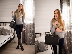 Aleksandra D - H&M Scarf, House Sweater, H&M Pants, Shoes, Michael Kors Bag, Calvin Klein Watch - Time for Bardolino