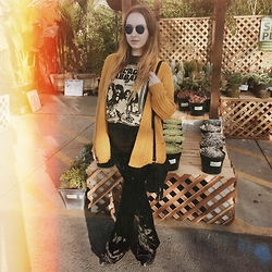 Sally S - Forever 21 Knit Cardigan, Lip Service Bell Bottoms, Brandy Melville Usa Fringe Suede Bag - Mustard yellow & Sabbath