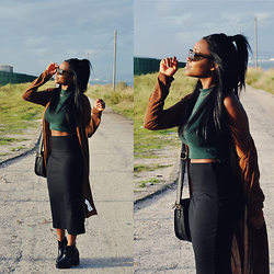Muny B - Bershka Long Cardigan, Zara Skirt, New Look Boots, Ray Ban Sunglasses - Brown Looking Day