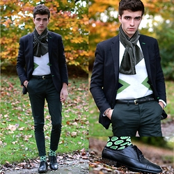 "Matthias C. - Tailor 4 Less Blazer, Asos Dark Green Slim Chino, Ted Baker Lime Socks, Choies Jumper - ""Charon"""
