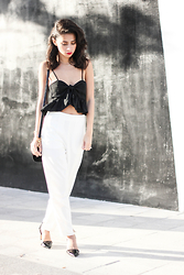 Joselin R - Dailylook White Pants, Dailylook Ruffled Crop Top - SPEAK SLOW
