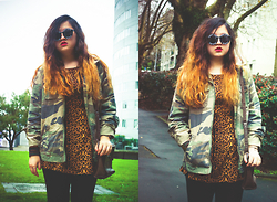 Johnnya Xu - Jay Jays Military Jacket, Cotton On Animal Print Jacket, Max Messenger Bag, House Of Holland Sunglasses - Retrospective