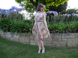 Imogen O - Portmans Rainbow Stripe Dress, Seychelles Gold & Teal Heels - Rainbow Dress