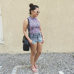Anna Alexis - Forever 21 Floral Top, New Yorker Denim Shorts, Sunnies Studios Bianca In Cream - #04