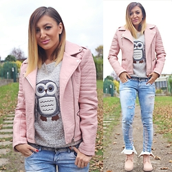 Ana Maria Oprea - Primark Faux Leather, Primark Owl, Bershka Ripped, Miss Moda Pinky - Fighting November with pink///anamariaoprea.com