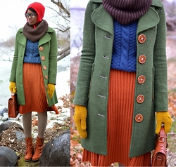 Sushanna M. - Thrifted Red Apple Hat, Brown Textured Scarf, Knitted Dove Green Oversized Lapel Wooden Button Coat, Bershka Teal Mixed Pattern Sweater, Asos Orange Pleated High Waist Skirt, Thrifted Vintage Gold Braided Mittens, Brown Braided Latch Key Satchel, Oatmeal Sweater Leggings, Light Brown Buckled Zippered Ankle Boots - Apple Crisp