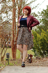 Jamie Rose - Forever 21 Burgundy Leather Jacket, Forever 21 Blue Crushed Velvet Crop Top, Xhileration Leopard Print High Low Dress, Korks Black Fisherman Sandal Platforms - Crushed Velvet & Burgundy Leather