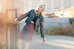 Brittany Bao - Style Moi Sweetheart Mesh Crop Top, Style Moi Faux Leather Biker Jacket, Style Moi Tartan Pencil Skirt - Faux Sure