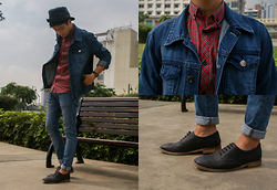 Andre Tan - Burton Menswear Button Down, Forever 21 Denim Jacket, H&M Jeans, Forever 21 Brogues - Denim ²
